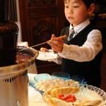 チョコレートファウンテンは、バレンタイン会で男の子にも好評ですよ